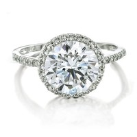 Bling Jewelry Vintage Style 925 Sterling Silver Round Brilliant CZ Engagement Ring - Size 5