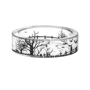 Handmade Ink Painting Resin Ring