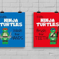 Ninja Turtles Prints - Even Ninja Turtles wash their hands, TMNT, Pop Art Print, Kids Bathroom Print, Ninja Turtle Party, Set of 2