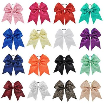 "18 Color Optional 7 "" High Quality Girls Sequins Ribbon Cheer Bows"