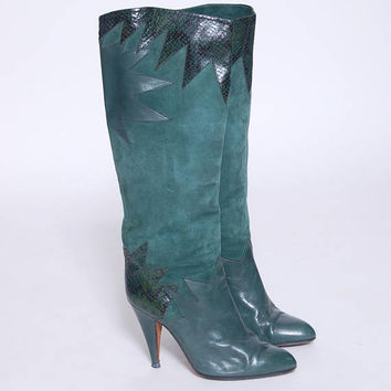 Vintage 80s GREEN Leather Boots Suede SNAKESKIN Boots KNEE High Italian Boots Size 7