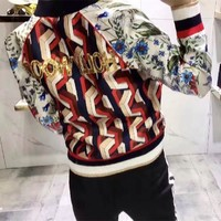 """Gucci"" Women Fashion Casual Sequin Letter Tiger Head Floral Geometric Print Long Sleeve Zip Cardigan Jacket Coat"