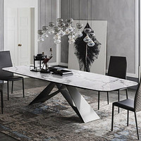 Modern White Marble Dining Table with Black Metal Frame