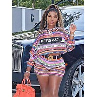 VERSACE Women Casual Long Sleeve Top Shorts Set Two-Piece