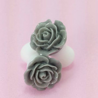 SALE (20% OFF!) Buy 2 Pairs/get 3rd FREE! Elegant Grey/Gray Small Flower Rose Plugs/gauges 10g 8g 6g 4g 2g 0g 00g 1/2 9/16