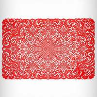 Red Filigree Party Placemats | PLASTICLAND