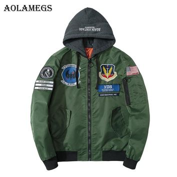 Aolamegs Bomber Jacket Men Badge Pilot Hooded Thin MA-1 Men's Jacket Hip Hop Fashion Outwear Men Coat Bomb Baseball Jackets