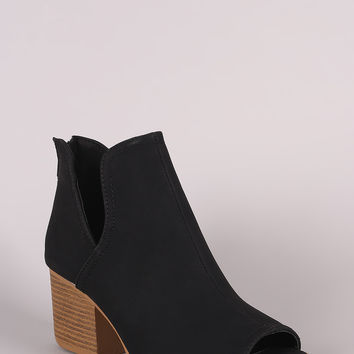 Qupid Nubuck Split Shaft Nubuck Chunky Heeled Booties