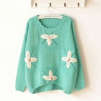 Lace collar flowers handmade crochet sweater hedging long-sleeved small bats shirt from Fashion Accessories Store