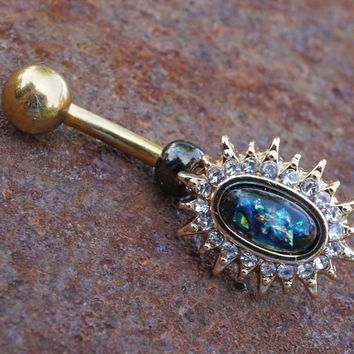 Black Opal Sunburst Belly Button Ring Rose Gold