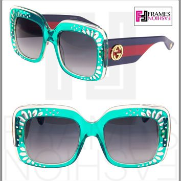 GUCCI RHINESTONE 3862 Turquoise Green Blue Red Crystal Square Sunglasses GG3862S