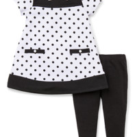Little Me Girls 2 Piece White/Black Polka Dot Short Sleeve Tunic and Black Legging Set
