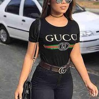"""Gucci"" Women Men Shirt Hot letters print T-shirt top Black"