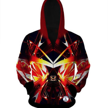 Dragon Ball Z Super Saiyan Double Sided Rare Zip Up Hoodie