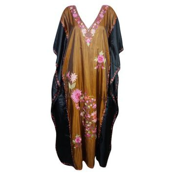 Mogul Womens Kaftan Double Shaded Silk Floral Embroidered Kashmiri Caftan Evening Wear Beach Kaftan Maxi Dress Black Brown Luxury Caftan Resort Wear - Walmart.com