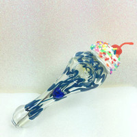 Blue Spiral Heart Ice Cream Glass Spoon Pipe, Custom Glass Pipe, Smoking Pipe