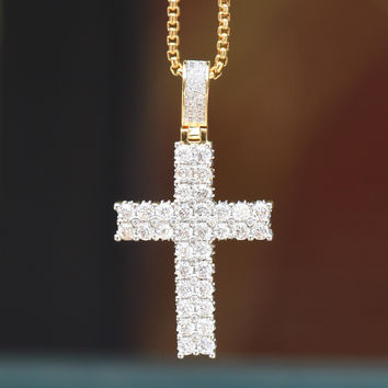 "Solitaire Cross Pendant Gold Tone Prong Set Simulated Diamonds 24"" Free Necklace"