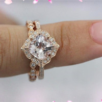 2 Rings Set - 7mm Cushion Morganite Ring 14K Rose Gold Diamond Engagement Ring with Matching Band Wedding Ring Set