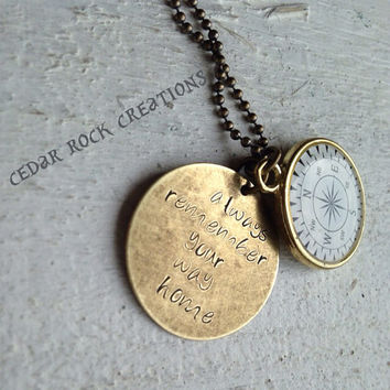Hand Stamped Pendant With Compass Charm - always remember your way home