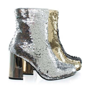 Abigale43 Silver by Forever Link, Block Heel Sequins Ankle Bootie, Women's Metallic Party Shoes
