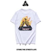 PALACE Tide brand triangle flame couple models round neck loose short-sleeved T-shirt white