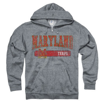 Maryland Terrapins Heather Gray Bridge Ringspun Full-Zip Hooded Sweatshirt
