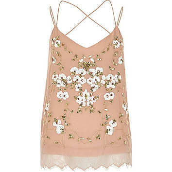 Pink oriental embellished cami top - cami / sleeveless tops - tops - women