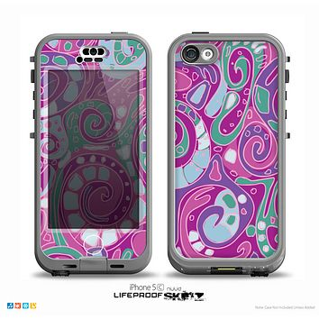 The Abstract Pink & Purple Vector Swirled Pattern Skin for the iPhone 5c nüüd LifeProof Case