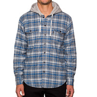 Mason Hooded Flannel Button Down Shirt Blue