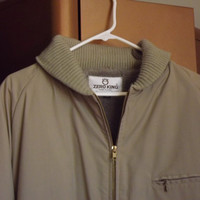 Mens Heavy Coat Jacket, Beige Brown Parka by Zero King, All Weather Mens Coat, Size 48