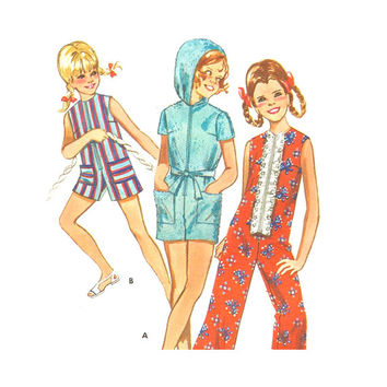 1960s Vintage Sewing Pattern Girl's One Piece Jumpsuit in Two Lengths with or without Hood Beach CoverUp Size 12  Butterick 5291