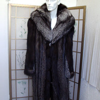Brand new silver fox fur long full length coat w/hood for men man size all custom made