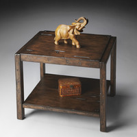 Mountain Lodge Distressed Wood End Table