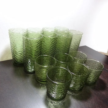 Vintage Anchor Hocking Avocado Green Soreno Glasses/Tumblers - 8 Tall Glasses and 6 Short Glasses - Set of 14
