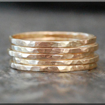 Ultra Thin Solid 14k Gold Stacking Ring, Hammered 14k gold ring, Stacking Ring, delicate solid gold  ring, Dainty stacking ring, gold ring