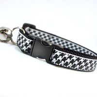 "Cat Collar - ""Vogue"" - Houndstooth White on Black"