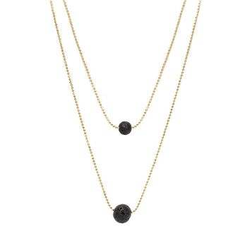 Poshfeel Multilayer Natural Black Lava Stone Necklace Choker Gold Double Layer Oil Diffuser Necklace for Women Colares MNE170025