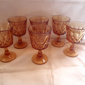 Vintage  wine glass |  footed |  glass| Noritake |  amber color | drinks | set of 6