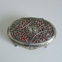 Vintage French Metal Jewelry Box - Shabby Chic Jewelry Box With Flowers