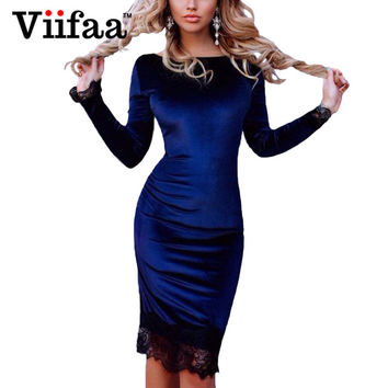 Viifaa Lace Elegant Bodycon Velvet Dress Women Long Sleeve Casual Velour Dress 2017 Autumn Winter Party Black Dresses