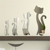 4 Pcs Cat Mirror Stlye Silver Removable Decal Vinyl Art Wall Sticker Home Decor Living Room Wall Clock