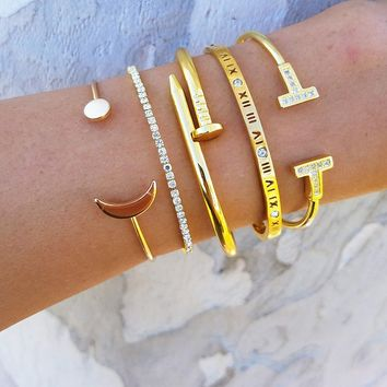 Roman Numeral Moon Bracelet Stack