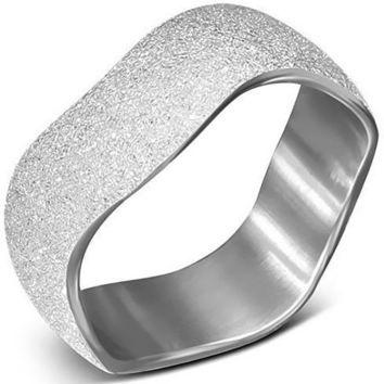 Wave Design Sandblasted Stainless Steel Band Ring
