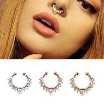 ac PEAPO2Q Titanium Piercing Nombril Luxury Rudder Nose Stud Clip Fake Septum Piercing False nose ring earring chain kit Bisuteria Mujer