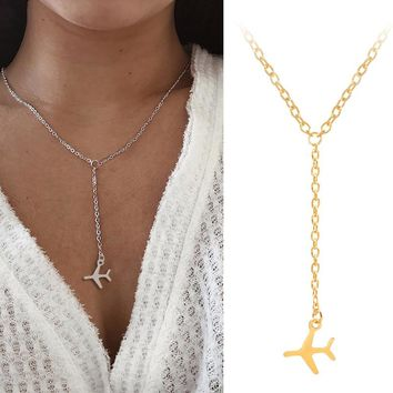 Golden Silver Airplane Pendant Necklaces Alloy Flat Aircraft Layered Fashion Necklace Female Exquisite Jewelry Friends Gifts