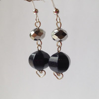 Sterling Silver Earrings with Blue Sandstone Gemstone and Crystals Glass Beads, Free Shipping anywhere in the USA, OOAK