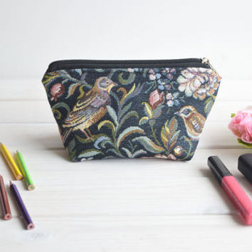Birds charger bag with zipper, Charger case, Cosmetic pouch, Make Up Pouch, Toiletry bag, Project bag, Travel bag, Coin Purse