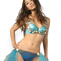 Glittering Mermaid Bra w/shells and sequins