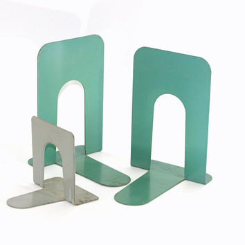 Vintage Metal Bookends in Large | Aqua Green and Industrial Gray | Library Bookends Set 3 | Heavy Duty - Holds Heavy Books