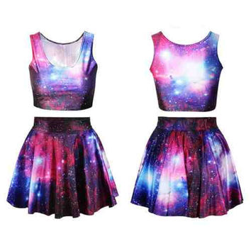 Purple Galaxy Crop Top & Skirt Set (Pastel Goth, Alternative, Kawaii)